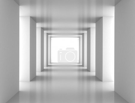 Photo for Tunnel with white wall. Computer generated image - Royalty Free Image