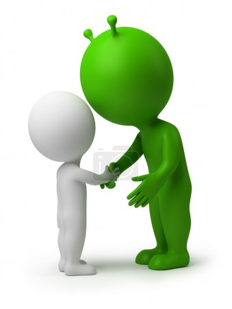 3d small - hand shake of the alien