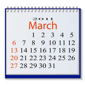 The vector image of a calendar for March 2011 Vector illustration