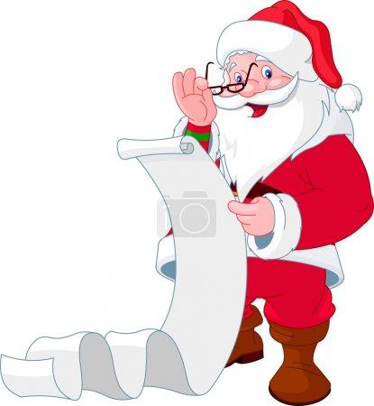 Illustration pour Père Noël lisant une longue liste de cadeaux - image libre de droit