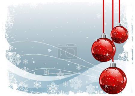 Christmas Background with balls and snowflakes