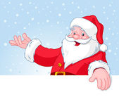 Christmas Santa Claus over blank greeting (place) card