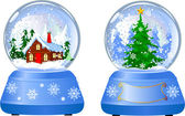 Two Christmas Snow Globes