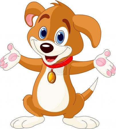 Cute Puppy raising his hands