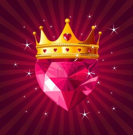 Illustration pour Coeur d'amour en cristal brillant avec couronne de princesse sur fond radial - image libre de droit