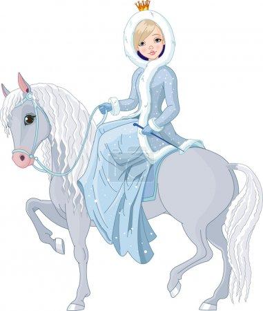 Princess riding horse. Winter