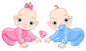 Illustration of creeping baby twins You can easily add or remove the pacifier to each of them