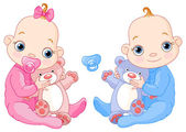 Illustration of Cute twins with toys You can easily add or remove the pacifier to each of them