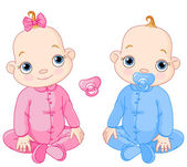 Illustration of Cute sitting twins You can easily add or remove the pacifier to each of them