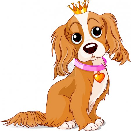 Illustration for Cavalier King Charles Spaniel with crown - Royalty Free Image