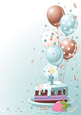Clipart blue lustration of a Slice Of Birthday Cake With Balloons And Confetti