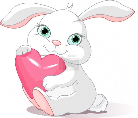 Illustration for Small lovely rabbit holds love heart - Royalty Free Image