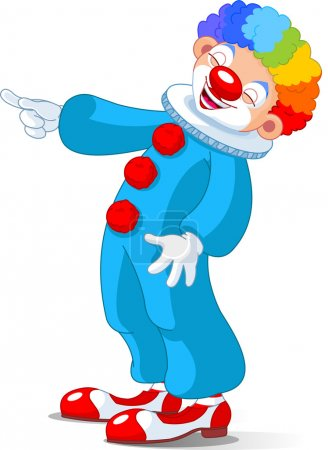 Illustration for Illustration of Cute Clown laughing and pointing - Royalty Free Image