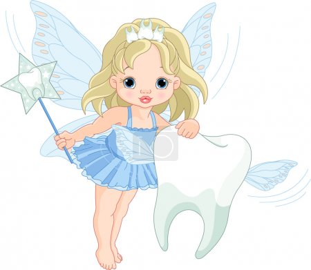 Illustration for Illustration of a cute little Tooth Fairy flying with Tooth - Royalty Free Image