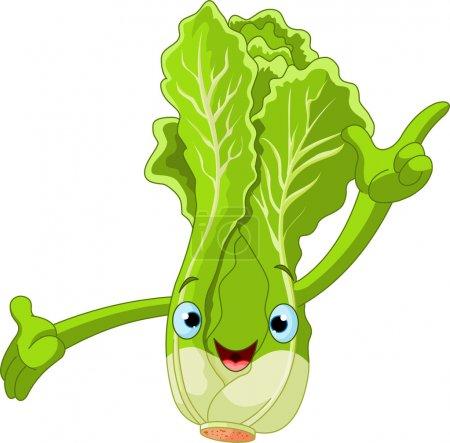 Illustration of a lettuce Character Presenting Som...