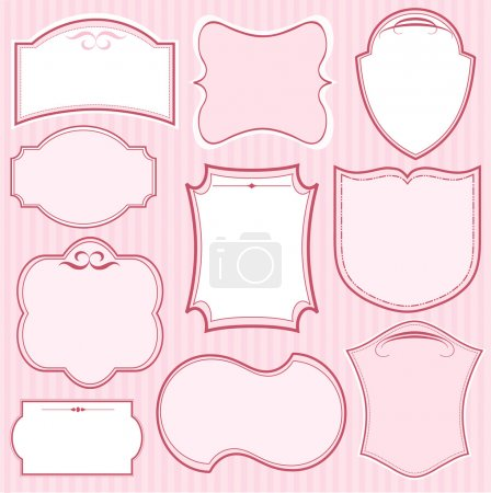 Set of pink vector frames