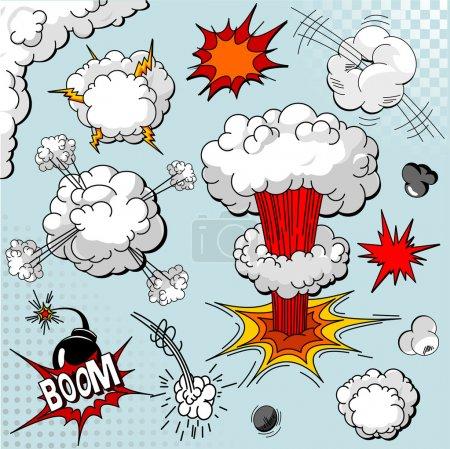 Comic book explosion elements