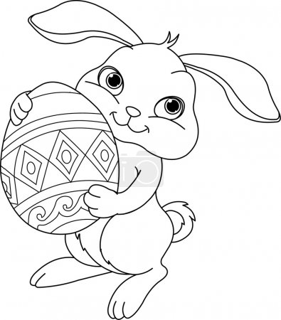 Illustration for Illustration of happy Easter bunny carrying egg. Coloring page - Royalty Free Image