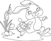 Easter Bunny Hiding Eggs Coloring page