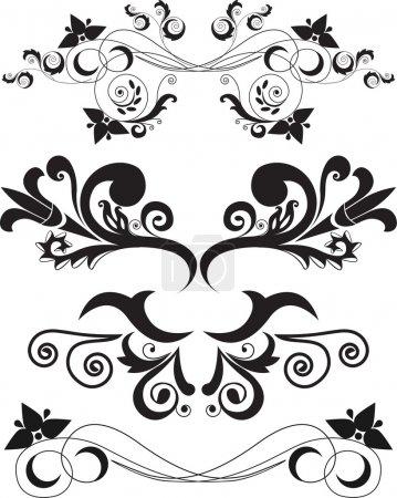 Illustration for Vector illustration set of swirling flourishes decorative floral elements - Royalty Free Image