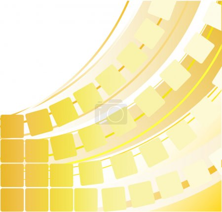 Abstract yellow background with squares and arcs...