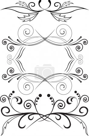 Illustration pour Ensemble de trois motifs abstraits noirs sur fond blanc - image libre de droit