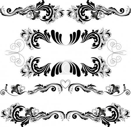 Illustration pour Ensemble de quatre motifs abstraits noirs sur fond blanc - image libre de droit
