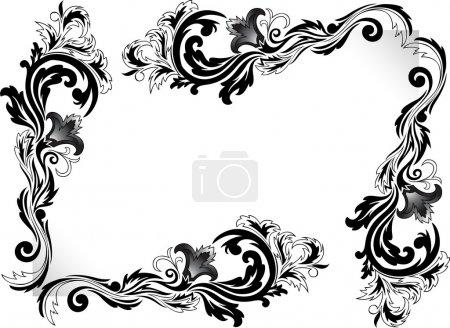 Photo pour Un ensemble d'ornements d'angle noirs sur un fond blanc - image libre de droit