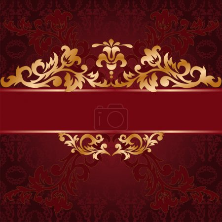 Red background with a gold ornate ornaments...