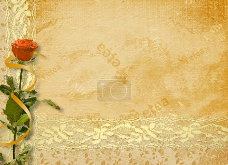 Vintage album for photo with slide and rose