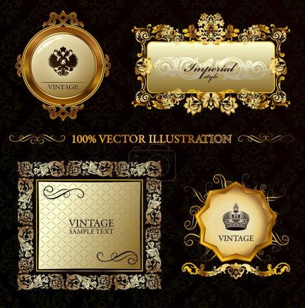 Illustration for Glamour vintage gold frame decorative background. Vector illustration - Royalty Free Image