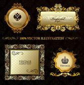 Glamour vintage gold frame decorative background Vector illustration
