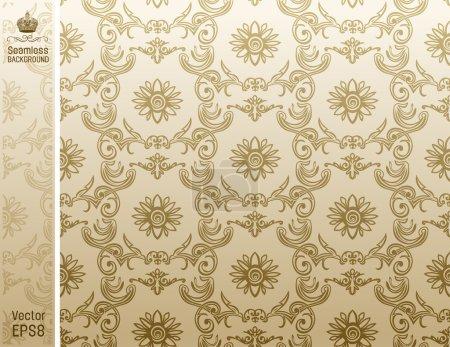 Seamless flower wallpaper Pattern beige