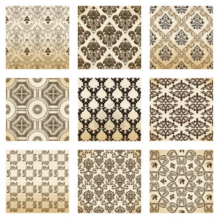 Photo for Set seamless wallpaper old flower decorative vintage. Vector illustration - Royalty Free Image