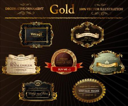 Illustration pour Ensemble vectoriel vintage. Cadres dorés illustration d'étiquette décorative - image libre de droit