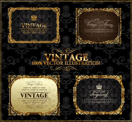 Illustration for Vector vintage Gold frames decor set label - Royalty Free Image