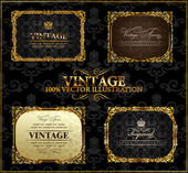 Vector vintage Gold frames decor set label