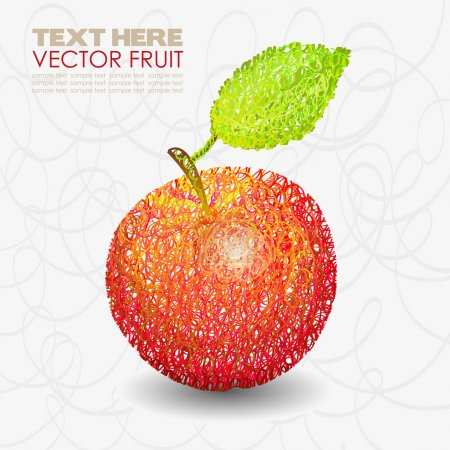 Red apple fruit designs with leaf