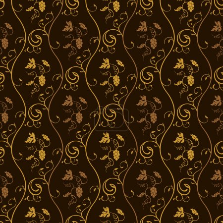 Seamless wallpaper background grapes decor vintage brown