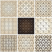 Seamless vintage backgrounds set brown baroque Pattern Vector set