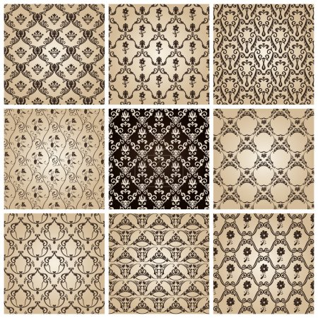 Photo for Seamless vintage backgrounds set brown baroque wallpaper. Vector set - Royalty Free Image