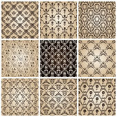 Seamless vintage backgrounds set brown baroque wallpaper Vector set