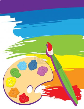 Illustration for Paintbrush, palette on rainbow color painted canvas. Vector illustration. Brush, palette and painted canvas are layered. - Royalty Free Image