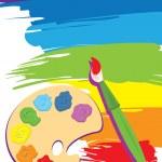 Paintbrush, palette on rainbow color painted canva...