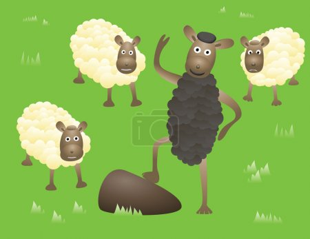 Illustration for Smiling Blacksheep stands and greetings between usual and sad sheeps. Abstract humorous image. - Royalty Free Image