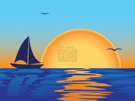 Illustration for Sea sunset with boat and seagulls silhouettes - Royalty Free Image