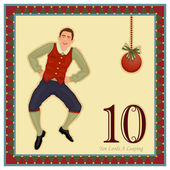 The 12 Days of Christmas - 10-th Day - Ten Lords A Leaping Vector illustration saved as EPS AI 8 no effects easy print