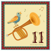 The 12 Days of Christmas - 11-th Day - Eleven Pipers Piping Vector illustration saved as EPS AI 8 no effects no gradients easy print