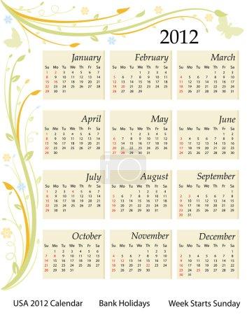 Calendar 2012 - USA