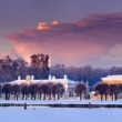 Winter landscape with panorama of Moscow estate Ku...